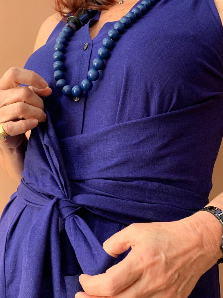 Vestido chemise com amarração detalhe